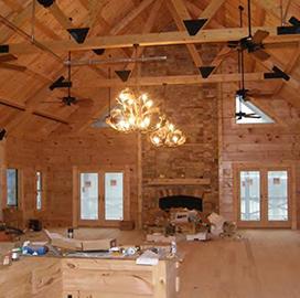 log commercial building interior